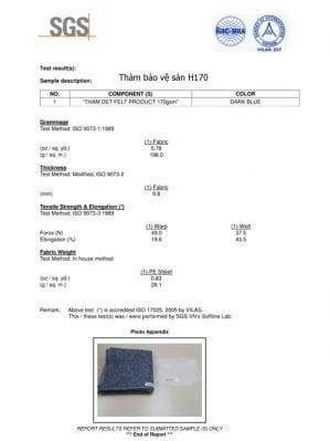Thí nghiệm thảm bảo vệ sàn H170-25 và H170-50