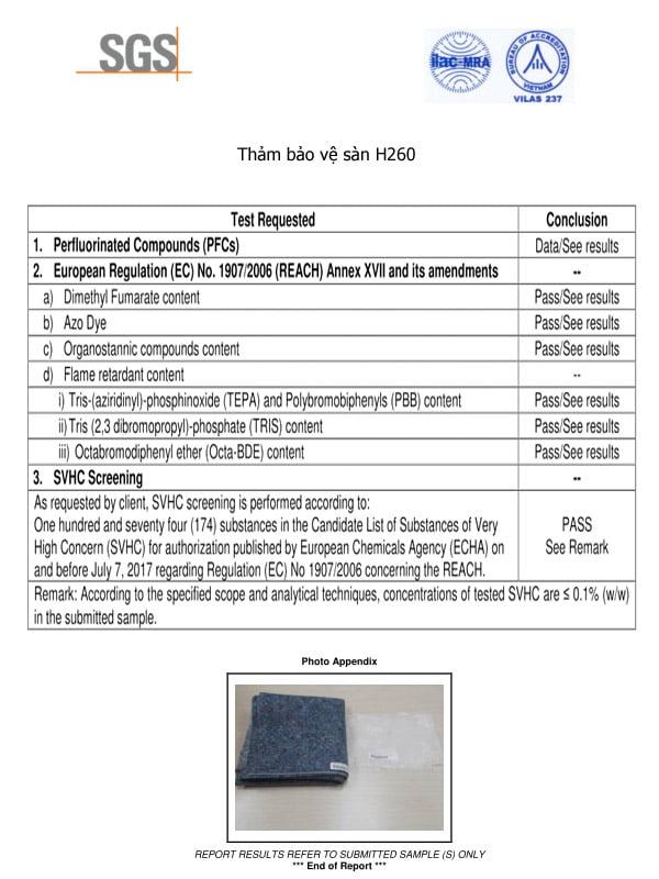Thí nghiệm thảm bảo vệ sàn H260