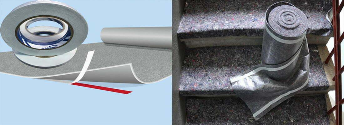 Dán băng dính 2 mặt vào mép dưới thảm